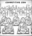 Label at top: Competitive Zen; five people dressed as Buddhist monks, each with a number on chest; a crowd of people apparently cheering in the background