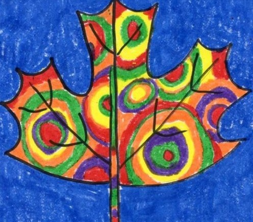 Image of a colorfully painted leaf, colored in the style of V. Kandinsky